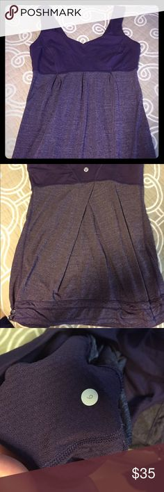 Lululemon work out tank Super comfy and soft work out top by Lululemon. Tag was cut out when I purchased on Posh. Size 6, good condition with a drawstring bottom. No bra support. lululemon athletica Tops Tank Tops