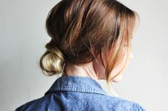 Low bun - looks effortless until you see the required steps. Anyone feel like playing with my hair?