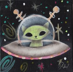 """Space Ship Green Cat"" Space Alien Cat by Abril Andrade Griffith Alien Painting, Space Painting, Cute Alien, Creepy Cute, Trippy Cat, Et Wallpaper, Alien Aesthetic, Alien Drawings, Alien Tattoo"