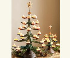 Tree Light Candleholders  This would be fun to alternate candles and small ornaments or use with small desserts.