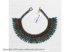 Elit Handicraft - IA-K104 İnci Arın El Yapımı Turkuaz Kristal Kolye Örme Kolye Beaded Jewelry, Beaded Necklace, Peyote Patterns, Handmade Beads, Handicraft, Jewelry Design, Jewelry Making, Crafts, Accessories