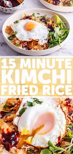Kimchi Fried Rice : The healthy Korean inspired recipe is an easy vegetarian dish which is so quick to make and tastes amazing topped with a runny fried egg. Healthy Korean Recipes, Vegetarian Recipes Easy, Cooking Recipes, Vegetarian Appetizers, Healthy Food, Kimchi Fried Rice, Arroz Frito, Korean Dishes, Vegetarian