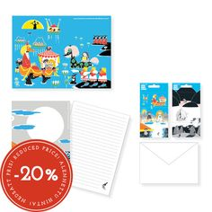 SALE!! -20 % off! Letter set, includes 2 sticker sheets, 20 pcs A5 illustrated writing papers and 10 pcs C6 white envelopes, packed in carton covers.