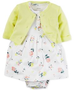 Carter's Baby Girls' 2-Pc. Cardigan & Floral-Print Dress Set - Sets & Outfits - Kids & Baby - Macy's