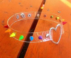 Clear Spiked Rainbow Pride Heart Choker  -  See through design with 10mm Spikes by ToxifyDesigns on Etsy