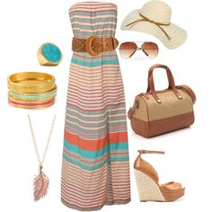 bahama breeze, created by kchristman on Polyvore...loving the coral and teal for summer