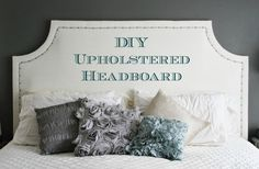 This DIY headboard tutorial includes legs which could be attached to the frame rather than just hanging it on the wall (which is kinda chintzy in my opinion...)
