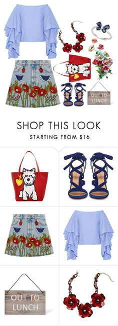"""""""Denim skirt"""" by ladygroovenyc ❤ liked on Polyvore featuring Marc Tetro, Gianvito Rossi, Gucci, Rosie Assoulin, Garden Trading, Bebe, Bloomingdale's, gucci and denimskirt"""