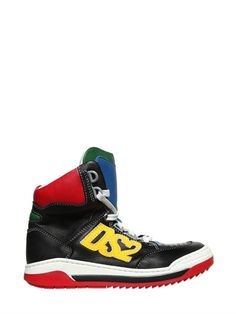 DSQUARED2 - DS2 LEATHER HIGH TOP SNEAKERS - LUISAVIAROMA - LUXURY SHOPPING WORLDWIDE SHIPPING - FLORENCE