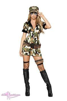 Army Kleid Kostüm - für Fasching & Shows   Art.Nr.: 4393 Army Girl Halloween Costume, Army Girl Costumes, Army Costume, Soldier Costume, Military Costumes, Unique Halloween Costumes, Costume Dress, Costumes For Women, Halloween Ideas
