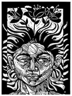 """Fertile Mind,"" a linocut - woodcut print by New Orleans artist Steve Prince"