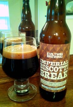 Evil Twin Imperial Biscotti Break. 11.5% Imperial Stout brewed with coffee beans. TASTE: The front of the palate has coffee & cream, raisin and overripe plum & nectarine. This is swiftly followed by milk chocolate, dates and molasses as well as notes of marshmallow and graham cracker. Finishes bitter with dark chocolate, cocoa nibs, espresso and a hint of charcoal. OVERALL: Starts sweet with plenty of dark fruits and works its way dry and bitter towards dark chocolate and espresso.