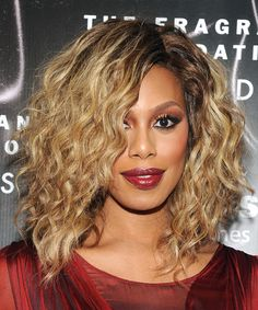 Laverne Cox Medium Curly Hairstyle. Try on this hairstyle and view styling steps! http://www.thehairstyler.com/hairstyles/formal/medium/curly/laverne-cox