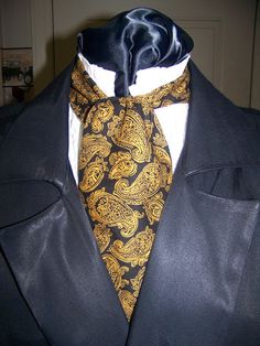 Ascot or Carvat Black with Gold Floral Paisley by civilwarlady, $14.95