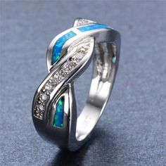 Unique Crossed Design Fashion Jewelry Blue Fire Opal White CZ Wedding Ring Women Men Gold Filled Engagement Rings Aneis RP0030