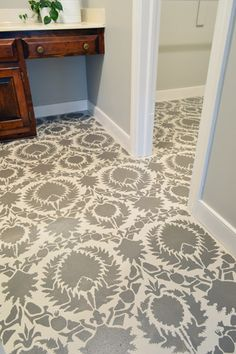 Stencil on subfloor!  Many other amazing stenciled projects too!