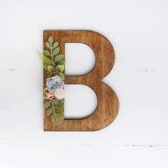 Wood Letter with Felt Succulents - YOU PICK LETTER by fLOhRAshop on Etsy https://www.etsy.com/listing/450164976/wood-letter-with-felt-succulents-you
