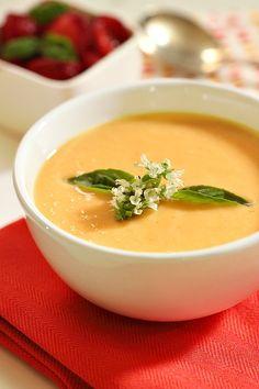 Chilled Cantaloupe Soup | Simply Fresh Dinners. Cantaloupe, Greek yogurt, ginger, honey, nutmeg, salt. Sounds like a smoothie to me.