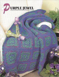 ❀ ❀ Roxo Crochê Coberta Acolchoada malha itens decorativos Criações -  / ❀ ❀ Purple Crocheted Quilt Knit Knacks Creations -