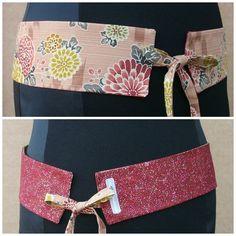 Lolahn Handmade alegria calidad elegante accesorios complementos cinturones gurtel belt reversibles tela algodon estampados color japonés malva