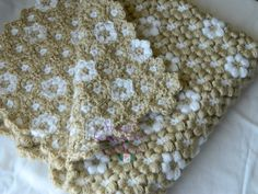 Crochet flower blanket. Can be made in any color scheme. www.2ndgenerationfibers.etsy.com $275.00 #handmade #crochet #handstitched #flowers