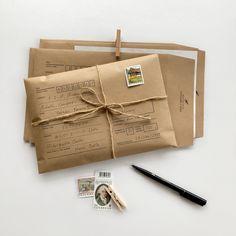 Envelope Kraft, Kraft Envelopes, Origami Envelope, Envelope Design, Gift Packaging, Packaging Design, Planner Bullet Journal, Pen Pal Letters, Cute Letters