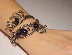 Purple Amethyst Bracelet--Amethyst Bracelet-energy-reiki- wire wrapped jewelry handmade-Adjustable bracelet-silver bracelet-gemstone jewelry. $38.00, via Etsy.