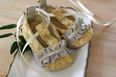 The Anya baby shoe/bootie in yellow ♥ by sugarplumbtree on Etsy, $30.00