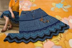 DIY crocheted skirt from old jean, graph pattern/chart
