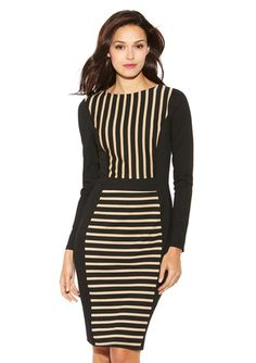 CASUAL COUTURE Mocha/Black Long Sleeve Striped Dress