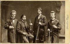 Visiting card of a string quartet, Prague, ca. 1905, photo by V. Donát