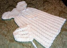 Crocheted Baby Heirloom Christening or Baptism Gown and Bonnet  by hamburke, $125.00