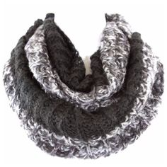 """B167 Soft Black Gray Hand Knit Infinity Scarf ‼️ PRICE FIRM UNLESS BUNDLED WITH OTHER ITEMS FROM MY CLOSET ‼️   Multi Color Infinity Scarf  Fun & colorful super soft sweater knit yarn!  Hand knit. 100% acrylic. Please check my closet for many more items!!  16"""" wide  35"""" long Boutique Accessories Scarves & Wraps"""