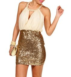 Ivory/Gold Keyhole Sequin Short Dress…I'm so getting this for New Year's (hopefully)..