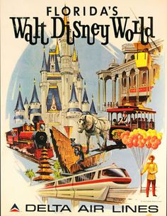 Florida's Walt Disney World Delta Airlines Orlando Florida United States of America Vintage Park Ride Travel Advertisement Poster - Poster measures 10 x inches