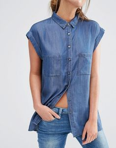 Image 3 of Oasis Roll Sleeve Denim Shirt Denim Outfit, Denim Shirt, Chambray, 50 Fashion, Fashion Online, Destroyed Jeans, How To Roll Sleeves, Blouses For Women, Denim Button Up