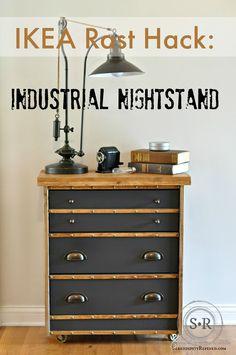SerendipityRefined blog Ikea Rast hack: Masculine industrial nightstand @hickoryhardware @pghpaintsstains