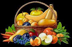 Фруктовая корзинка - Схемы вышивки - Miss_Ikss - Авторы - Портал «Вышивка крестом» Still Life Fruit, Hand Painted, Pattern, Painting, Art, Paintings, Art Background, Patterns, Painting Art
