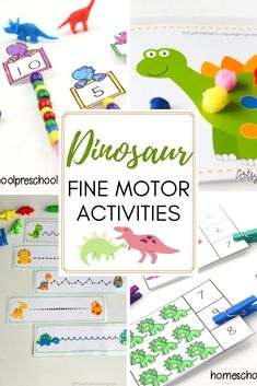 Pinching, cutting, and tracing are all great motor skills activities. Discover more in this collection of dinosaur fine motor activities for preschoolers! Playdough Activities, Gross Motor Activities, Montessori Activities, Preschool Activities, Writing Activities, Preschool Readiness, Montessori Materials, Dinosaur Theme Preschool, Preschool Themes