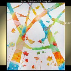 Birds Tree Flower Painting Original Modern Landscape Abstract Large