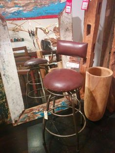 "Industrial Bar Stool - Counter Height | $350  CLEARANCE $140 | Leather seat and back rest on a rustic steel base. Swivel cushioned seat.  Only 3 pieces available on clearance.  *discounted because of imperfections.   Dia18"" x H34"" - Seat H26"" #rustic #leather #BarStool #design #clearance #hurryin Industrial Bar Stools, Counter Height Bar Stools, Wood Furniture, Seat Cushions, Im Not Perfect, Rest, Steel, Chair, Leather"