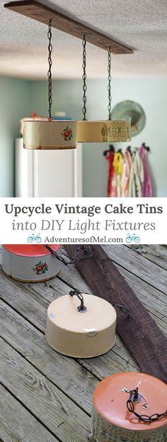 Kitchen Lighting Ideas Create a farmhouse kitchen look with DIY light fixtures upcycled from vintage cake tins. How to create a charming look with affordable and simple kitchen lighting. Diy Light Fixtures, Vintage Light Fixtures, Vintage Lighting, Modern Lighting, Lighting Ideas, Industrial Lighting, Diy Luminaire, Diy Lampe, Farmhouse Kitchen Light Fixtures