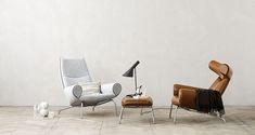Hans Wegner Ox Chair and Ottoman in brown and white Ox Chair, Chair And Ottoman, Upholstered Chairs, Desk Chair, Hans Wegner, Scandinavian Furniture, Scandinavian Design, Chair Design, Furniture Design