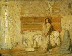 """Study for the Annunciation,"" Henry Ossawa Tanner, ca. 1898, oil on wood, 8 1/2 x 10 3/4"", Smithsonian American Art Museum."