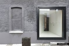 This century corner house is located at the Muide waterfront area with a unique view on the old city harbor docks of Ghent, Belgium. The project started by stripping the dilapidated house of all excess. The essence was conserved by means of the. Facade Architecture, Amazing Architecture, Minimal Architecture, Residential Architecture, Exterior Design, Interior And Exterior, Interior Ideas, Corner House, Sustainable Design