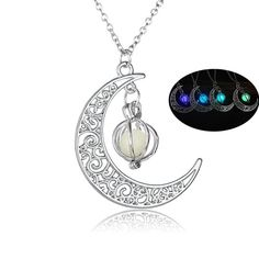 Fashion Women's stone shine moon Charm Luminous Stone necklaces Pendants fashion wholesale jewelry Statement Necklace Moon Necklace, Pendant Necklace, Anime Necklace, Pentagram Necklace, Skull Pendant, Fashion Necklace, Fashion Jewelry, Jewelry Sites, Charms