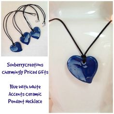 """Mom would love this Necklace with Blue Ceramic Heart Pendant, 20"""", Handmade, Original"""