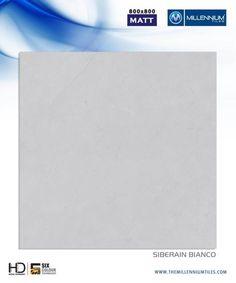 "Millennium Tiles 800x800mm (32x32) Vitrified Matt Porcelain XL Tiles Series ""Siberian Bianco"""
