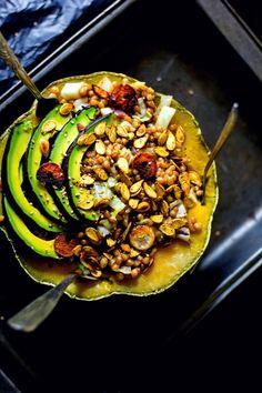 Loaded Pumpkin bowls- A Kitchen in Uganda      https://akitcheninuganda.com/2017/05/23/sauteed-garlic-wheat-pumpkin-bowl/