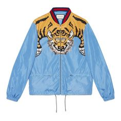 Gucci Nylon Bomber With Tiger Print ($1,185) ❤ liked on Polyvore featuring men's fashion, men's clothing, men's outerwear, men's jackets, mens bomber jacket, mens nylon jacket, mens nylon bomber jacket, mens zipper jacket and mens short sleeve jacket